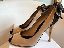 Dolce & Gabbana Arco De Encaje Negro Desnudo punta abierta zapatos talla 38.5 Reino Unido 5