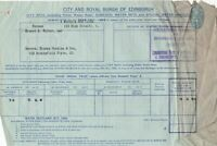 City and Royal Burgh of Edinburgh 1951 City Rate Incl.Water Stamp Receipt  38848