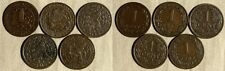 Netherlands:Lot 5 Coins 1 Ct(1884;1900SP;1901;1913;1915)KM#107;#152 VF-XF  IR259