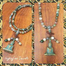 Mala Beads ♡ Solid Buddha Amulet Meditation Necklace Healing Thai 108 Agate Gems