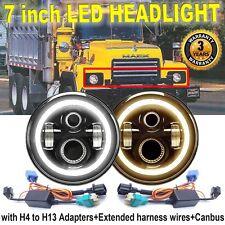 "Round 7"" inch LED Headlight Headlamp Hi/Low Beam w/ Angel Eye for MACK R Series"