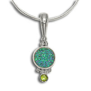 "Offerings Sajen Sterling Silver Green Druzy & Peridot Pendant with 18"" Chain"