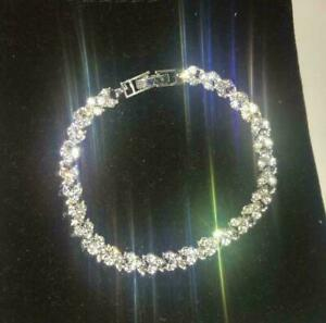 Womens Swarovski Element Crystal Bracelet Bangle Heart White Silver Plated New