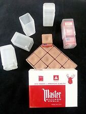 1 - (12) Pack Gold Master Chalk & 4 Empty Chalk Holder Cases - Pool Billiard Cue