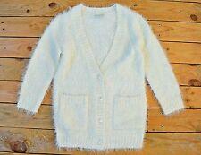 Chicas Suave Pestañas Escote en V Botón Cardigan Bolero Suéter Chaqueta Marfil Edad 5 - 6