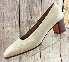 Salvatore Ferragamo Beige Snake Print Block Heels Pump Loafer Shoes Women's 8 B