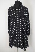 Zara Premium Denim Collection Black Polka Dot Shirt Size XS Blouse Top Long