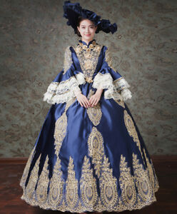 Victorian Edwardian Fancy Dress Women Medieval Costume Ball Gown Theater + Hat