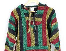 Mexican Baja Hoodie Surf Pullover Jacket Rasta Color Unisex Size Medium Drug Rug