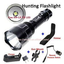 UltraFire C8 Cree XM-L2 U3 1M Led Flashlight+Charger+Mount+Remote Switch+Holster