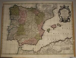 SPAIN PORTUGAL GIBRALTAR 1740 SEUTTER UNUSUAL ANTIQUE COPPER ENGRAVED MAP