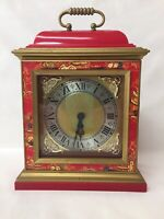 MANTLE CLOCK /  BAXTER LONDON / RED PLASTIC / KITSCH / NOT WORKING / NEEDS A KEY