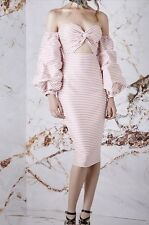 Brand New!  Exclusive Asilio Puff Sleeve Pink Candy Eyed Striped Dress Size 8 US