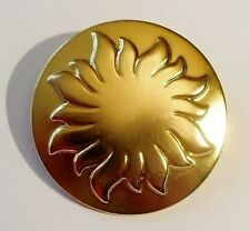 broche ronde bijou vintage couleur or soleil finement travaillé SOLEILADO 2300