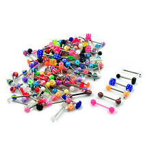 Wholesale Packag 100pcs Stainless Steel Tongue Piercing Barbell Assorted Designs