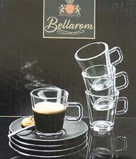 8 Glas Espressotassen 80ml Set 16tlg. Tassen Espresso 8 Untertassen Kaffee NEU