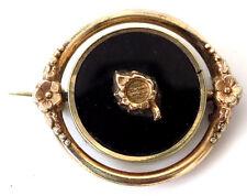 Victorian Spinner Revolving Mourning Brooch Obsidian Wavy Pattern Under Glass
