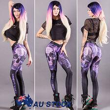 Womens Yoga Fitness Punk Skull Print Leggings Sports Gym Pants Slim Fit Trousers