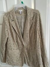 Chicos Size 2 Jacket In Taupe Lace Pattern