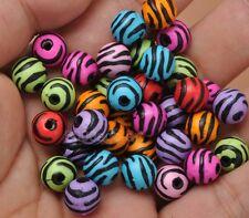 50pcs Beads ZEBRA  Beads plastic Beads Colorful loose Round bead  10mm
