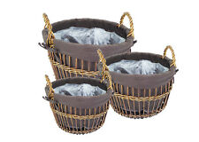 Basket Cloth round S/3 Containers Wooden Coated for Furniture Composers