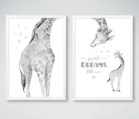 Giraffe Sweet Dreams Grey Animal Nursery Prints Childrens Bedroom Pictures Decor