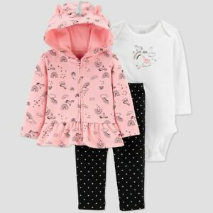 Carter's Baby Girls Rainbow Unicorn Hooded Jacket, Top/Bottom Set NB, 3M, 6M, 9M