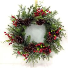 "Mixed Greenery, Pinecones, Berries Twig Wreath  Red, Green. 24"". Artificial"