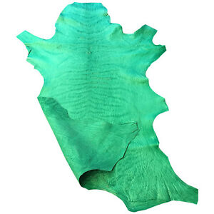 SALE Green Leather Hide New Zealand Sheepskin Crafting Upholstery Projects 962