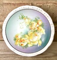 Vintage Crown Victoria Czechoslovakia Bowl Dish Yellow Rose Hand Painted