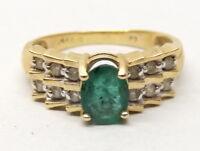 Vtg 14K Gold Natural Emerald Diamond Ring Sz 7.5 .12 TCW Carat Ornate Art Deco
