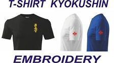 Karate shirt kyokushin embroidery kanji kanku, 4 colors + FREE sticker