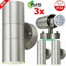 3x Stainless Steel Up Down Wall Light GU10 IP44 Double Outdoor Wall Lights