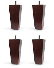 "5"" Dark Walnut Tapered Pyramid Sofa/Couch/Chair Wood Legs - Set of 4"