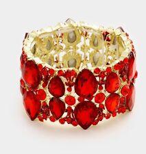 Red Gold Stretch Stretchable Cuff Crystal Rhinestone Wedding Pageant Bracelet