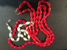 Three beaded strand necklaces - vintage 1950