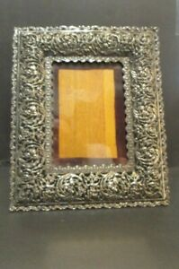 ORNATE ANTIQUE VICTORIAN SILVER PLATE PICTURE FRAME EASEL BACK