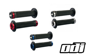 ODI Ruffian MTB BMX Bicycle Lock On Grips 130mm Flanged Red Blue Polished Clamps
