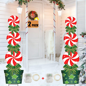 Christmas Outdoor Decorations, 2 Pack, 47In Candy Xmas Yard Stakes Signs With S