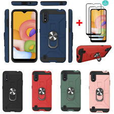 For Samsung Galaxy A01 Shockproof  Ring Kickstand Case Cover+Screen Protector