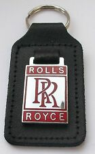 ROLLS ROYCE ENAMEL BADGED LEATHER KEYRING, KEY CHAIN, KEY FOB