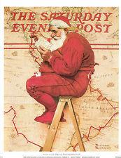 Norman Rockwell Christmas Print Santa At The Map 1939