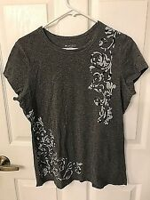 Tek Gear Women's Gray with Graphic Design Fitted Tee Size Large