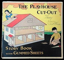 The Playhouse Cut-out Story Book w Gummed Sheets c1930 Art Deco Influence