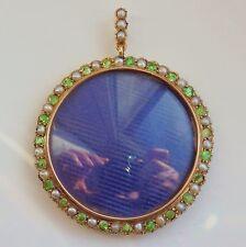 Fine Victorian 9ct Gold Demantoid Garnet & Pearl Double Sided Photo Locket c1900