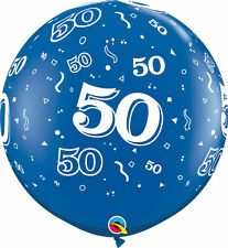 1 x Blue 50th Birthday Giant 3ft Qualatex Latex Balloon Party Decoration