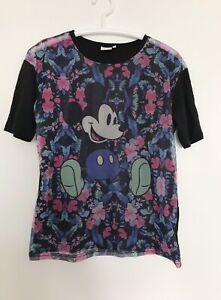 DISNEY Tshirt 12 Womens Cami Blouse Mickey Mouse Print 40 L Semi Sheer Top x