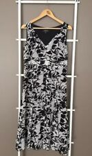 Gorgeous PERRI CUTTEN Black White 100% Silk Floral Midi Dress Sz M 12 EUC