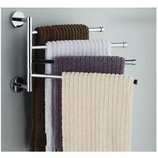 Swing 4 Arm Towel Rack Wall Bathroom Kitchen Hanger Rotatable Bars Holder Chrome