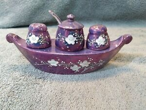 Iridescent Purple Luster Hand Painted Nippon Condiment Set Made In Japan